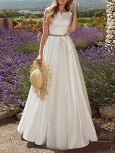 Старинные свадебные платья длиной до пола, разработанные декольте без рукавов створки атласная ткань свадебные платья