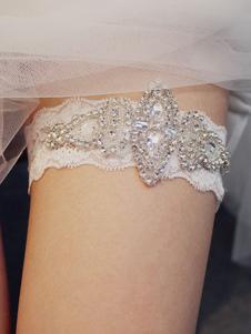 Liga do casamento para a noiva Branco Poliéster strass ligas de casamento