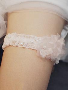 Nupcial do casamento Garter rosa suave Lace Pearls ligas de casamento