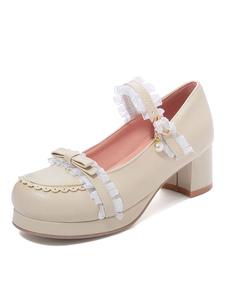 Lolita doce sapatos laço pérola arco dedo do pé redondo bombas de couro PU Lolita