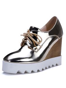 Zapatos de cordones de mujer con tacón de cuña Oxfords Casual con punta cuadrada