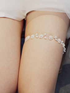 Da sposa Giarrettiera Argento Poliestere Perle giarrettiere nozze