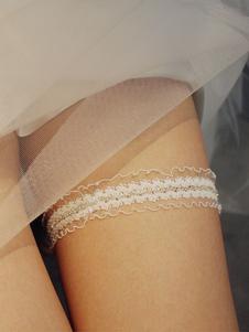 Свадебная подвязка для невесты из белого полиэстера со стразами Свадебная подвязка