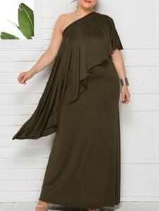 Элегантное платье больших размеров с косым воротником и оборками Вечернее платье