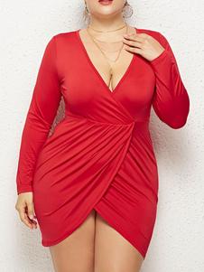 Abiti maxi taglie forti Mini abito da donna con scollo a V profondo casual casual solido di grandi dimensioni