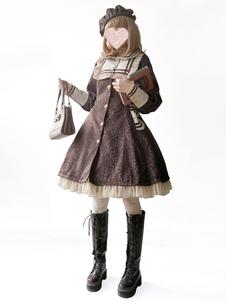 Классические Лолита Пальто Infanta Тренч Луки Жаккардовые Зимние Лолита Пиджаки