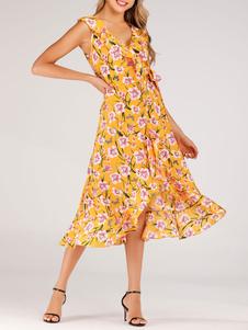 Невероятное летнее платье Boho с V-образным вырезом без рукавов