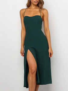 فستان الصيف الأخضر الأشرطة الرقبة مزيج القطن اللباس الشاطئ
