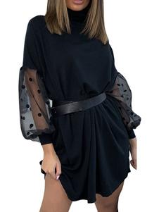 فستان الصيف الياقة العالية اللباس الأسود بيتش