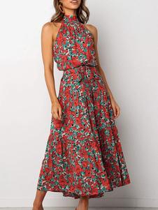 Vestiti Lunghi Rosso  Abiti Lunghi smanicato di poliestere con stampe Vestiti Lunghi Eleganti con scollo tondo Abiti Abbigliamento  Donna