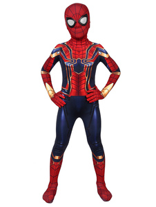 Spider-Man Homecoming Iron Spider Kids Cosplay Red Lycra Spandex Marvel Comics Costumi Cosplay