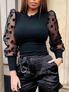 Pulôveres para mulheres preto polka dot gola mangas compridas blusas de organza pura