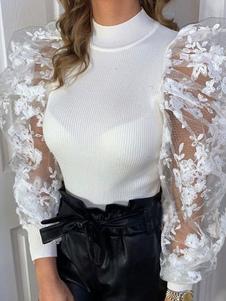 Женский пуловер свитер Белый плиссированный воротник стойка с длинными рукавами полиэстер свитера