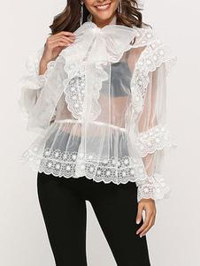 Blusa para mulheres branco sheer arcos embelezado gola retro mangas compridas organza tops
