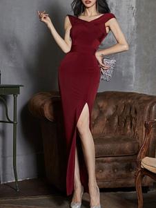 فساتين ماكسي قصيرة الأكمام بورجوندي الخامس الرقبة انقسام الجبهة الطبقات الطابق طول فستان بوليستر