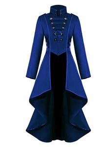 Женское пальто Высокий воротник Пуговицы Нерегулярное синее Пальто с запахом