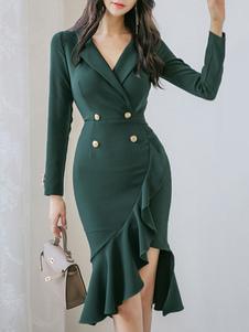 فساتين BODYCON أخضر داكن طويل الأكمام الكشكشة الرجعية الخامس الرقبة الطبقات سليم صالح اللباس غمد اللباس