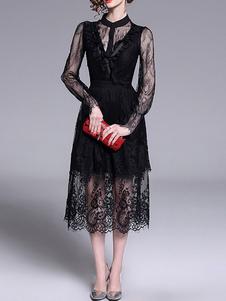 Vestidos de encaje Cuello alto negro Mangas largas Corte en capas Vestidos con estampado floral retro