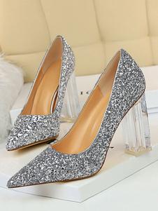 Bombas de purpurina para mujer Zapatos de fiesta de tacón alto Punta estrecha Zapatos de noche transparentes de tacón grueso