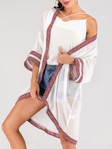 Верхняя одежда с длинным V-образным вырезом с длинным рукавом с геометрическим рисунком Parkas White
