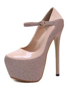 Женщины на высоком каблуке на высоком каблуке с блестками туфли на шпильках