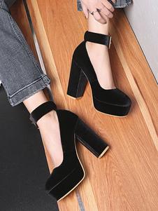 """Bombas de plataforma de terciopelo para mujer Zapatos de punta redonda 4.5 """"Correa de tobillo grueso talón Zapatos vintage"""