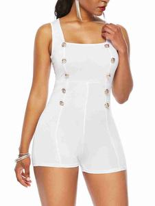 Botões de pescoço quadrado branco Mistura de algodão Verão magro Roupa de uma peça