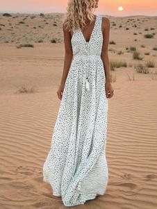 Vestido largo blanco  Moda Mujer con estampado de lunares sin mangas Vestidos de poliéster en capas con pliegues con cuello en V Verano Dating