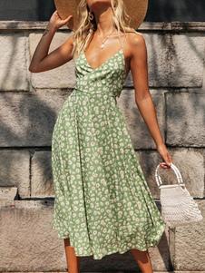 Vestido de verão correias pescoço impresso vestido de praia verde claro