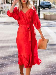 Bodycon vermelho vestido decote em v babados vestido de verão para as mulheres