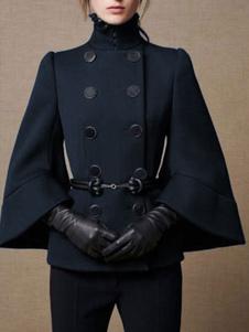 معطف عسكري مزدوجة الصدر أزرار كيب المعطف للنساء