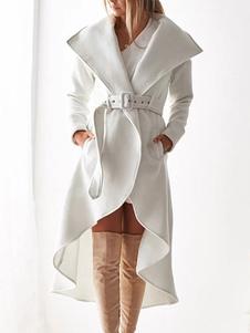 مربوط خندق معطف المرأة غير النظامية تقليم التفاف معطف