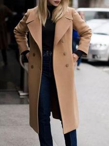 Abrigo Camel Abrigos de invierno de manga larga con doble botonadura para mujer