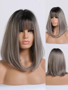 Las mujeres peluca larga recta de café de Brown Rayon Casual pelucas sintéticas en capas largas