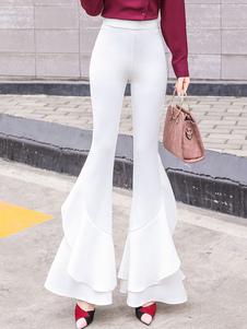Calças de perna queimada Babados Brancos Calças de cintura alta levantadas