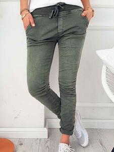 Calças Hunter Verde Algodão Mistura Calças Skinny Perna