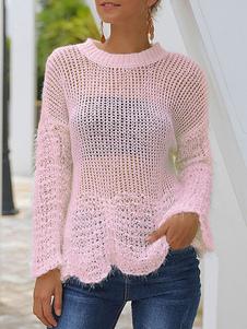 Женские полые сексуальные свитера Трикотаж Нерегулярный низ Прозрачный свитер с длинным рукавом