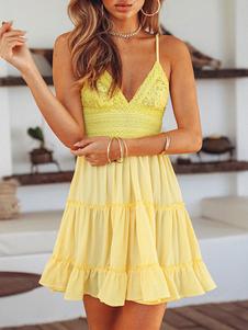 Verão vestido sem mangas amarelo Correias Neck vestido de renda Cami