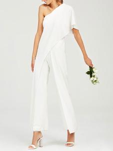 Vestidos de novia sencillos Marfil con escote a un solo hombro Vestidos de novia Boda cintura natural de elastano de marca LYCRA