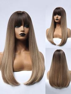 Peruca longa para mulher - luz marrom reta reta rayon em camadas longas perucas sintéticas