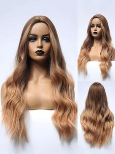 Peluca larga para mujer Rizos ondulados dorados claros Rayón Casual en capas Largas pelucas sintéticas