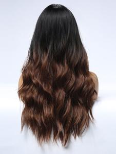 Peluca larga para mujer Marrón claro Separación central Rayón Casual en capas Largas pelucas sintéticas