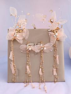 Conjunto de jóias para brinco de pérolas de casamento com chapelaria