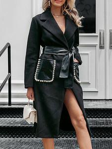 Женское пальто с отложным воротником и длинными рукавами