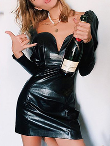 Vestido de club sin tirantes sexy de manga larga de cuero de la PU sin cupón vestido sexy negro
