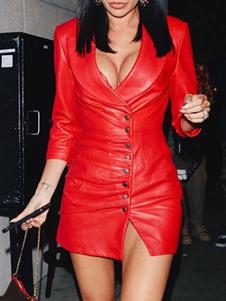 Клубное платье с V-образным вырезом сексуальные пуговицы 3/4 длины рукава из искусственной кожи без чашки красное сексуальное платье