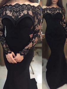 Vestidos de novia leales negros Encaje Sirena Mangas largas Encaje de cintura natural Con tren Vestido de novia