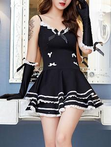 المرأة مثير خادمة زي أسود كشكش bowknot خادمة فتاة ازياء