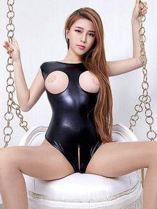 Costumi sexy da donna Costume in PU sintetico per tuta in pelle PU sexy nera