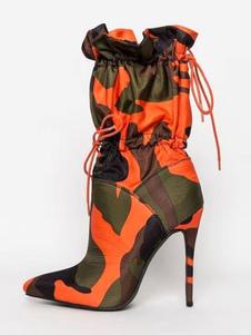 Le donne stivaletti a punta le dita dei piedi Camo Stampato tacco alto Booties Boots elastico